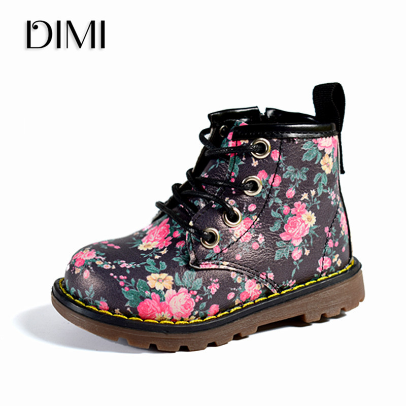 DIMI 2019 New Girls Boots Elegant Floral Flower Print Casual Chilren Girl Rubber Boots Cute Fashion Baby Boot Ankle Martin Shoes