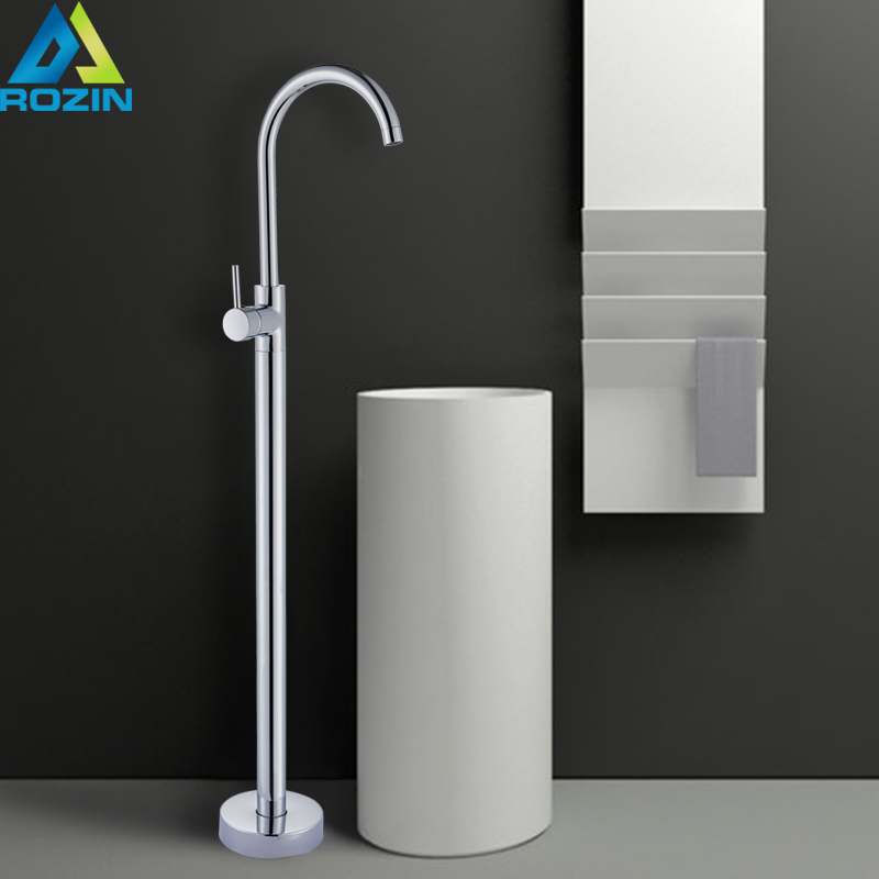 Chrome Floor Stand Faucets Single Handle Brass Bathroom Freestanding Basink Mixer Tap With Rotate Spout Single Hole