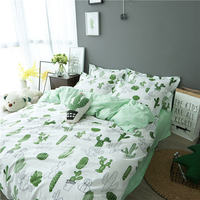 4pcs twin/full/queen/king size 100%cotton cereus bedding set no filler cactus home textile free shipping
