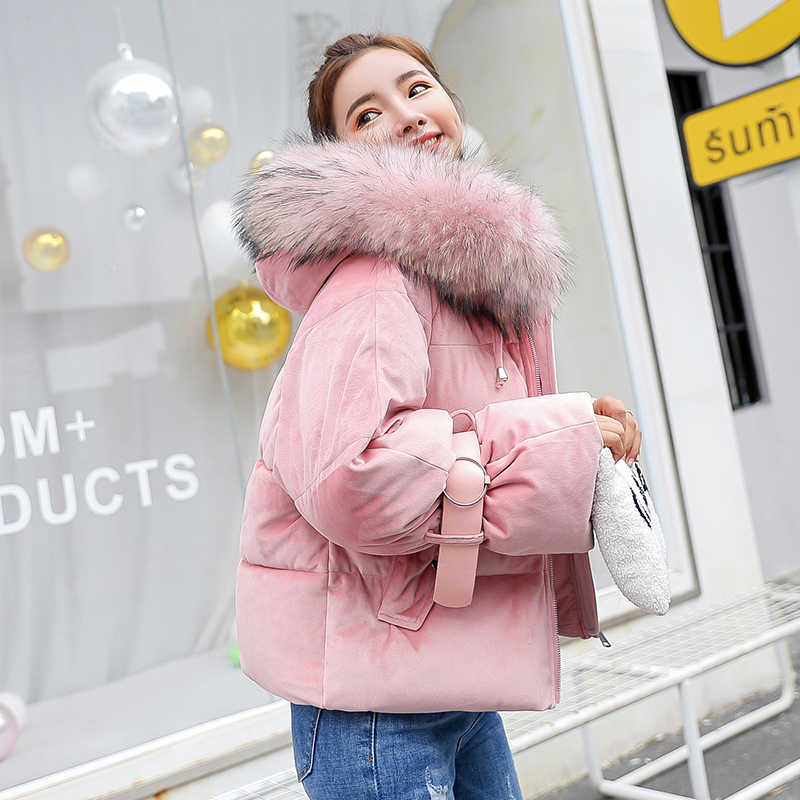 Winterjas Vrouwen 2019 Nieuwe Korte Verdikking Warme Bovenkleding Parka Vrouwelijke Katoen Gewatteerde Losse Jassen Hooded