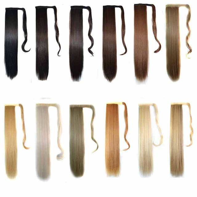Synthetic Wrap Around Ponytail Straight clip in on Invisible ribbon Hair Piece Pop Pony 12 colors available 22inches 120g