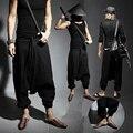 Модный людей хип-хоп гарем мешковатые брюки льняные брюки свободно хлопок шаровары японский самурай штаны непал негабаритных штаны