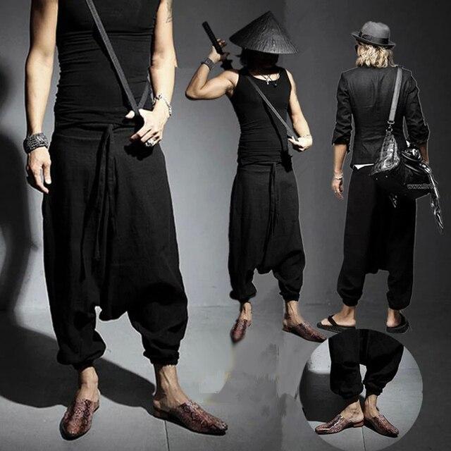 Trendy Men's Hip Hop Harem Baggy Culottes Linen Trousers Loose Cotton Bloomers Japanese Samurai Sweatpants Nepal Oversized Pants
