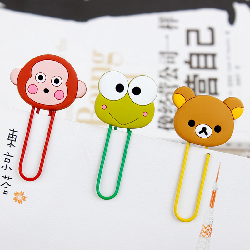 1 Pcs Cartoon Anime Paper Clip Silicone Material Escolar Bookmarks For Books Stationery School Supplies Papelaria Child Gift