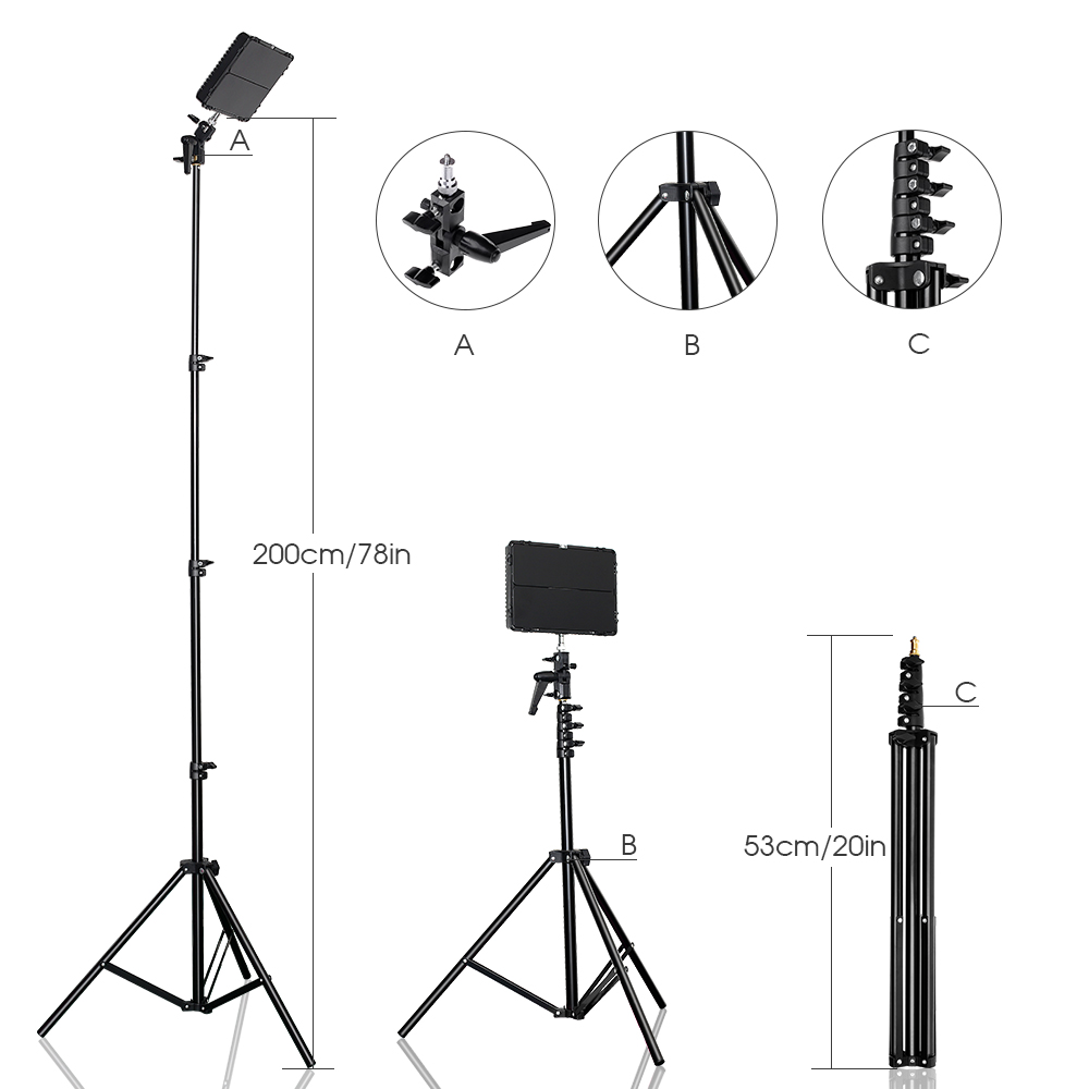 Image 4 - SAMTIAN 2Sets LED Video Light With Tripod Dimmable 3200 5500K 600 LEDs Panel Lamp For Studio Photo photography Lighting-in Photographic Lighting from Consumer Electronics