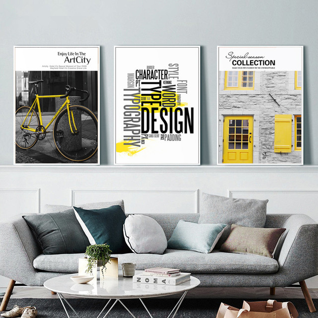 Nordic Photography Canvas Painting Bike Letter Wall Art  1