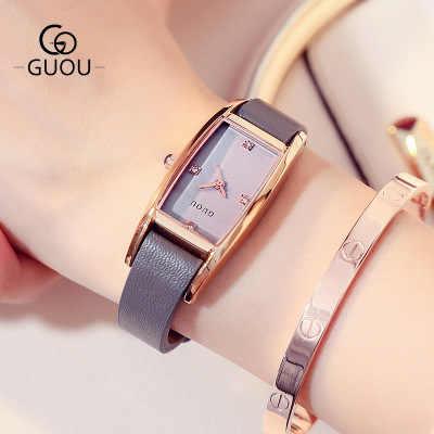 2017 Yeni Ünlü Marka Lüks Kadın Saatler Moda Kare dial quartz saat Bayanlar Hakiki Deri Kol Saati relogio feminino