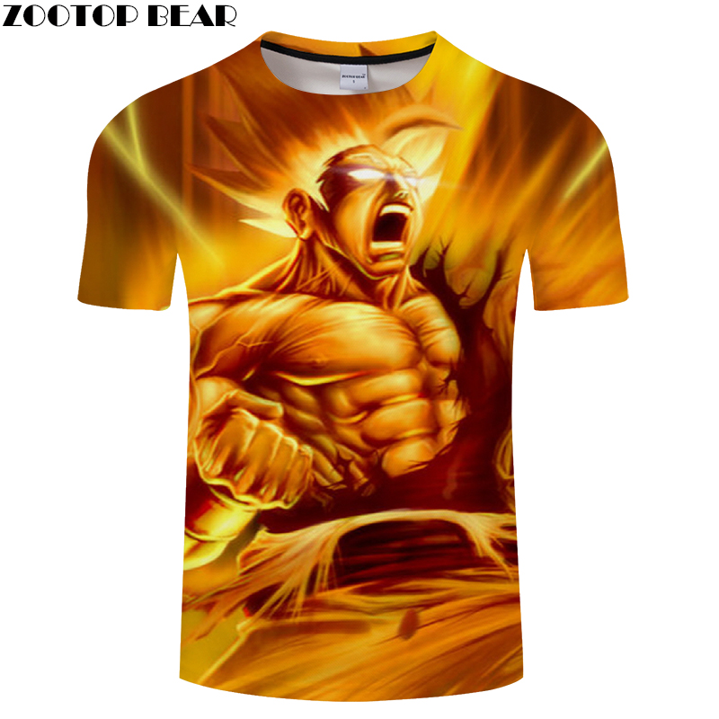 Boys Superman 3D Print T shirt Men Dragon Ball Summer Anime ShortSleeve Streetwear Saiyan Top&Tee Tshirts Drop Ship ZOOTOP BEAR