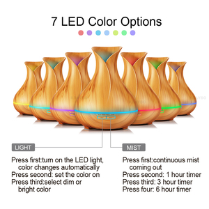 Image 2 - KBAYBO 400ml Wood Grain Ultrasonic Air Humidifier Aroma Essential Oil Diffuser with 7 Color Changing LED Lights for Office Home