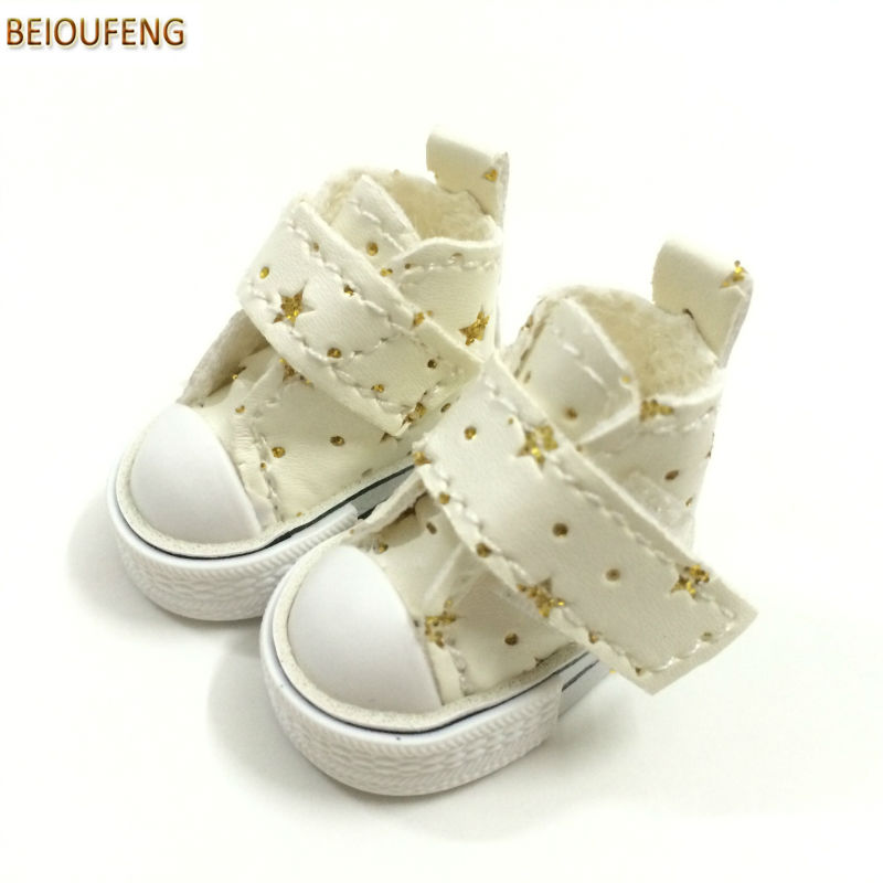 BEIOUFENG 3.5CM Doll Shoes Sneakers Shoes for Blythe Doll Toy,Star Polka Dots Design Toy Boot BJD Doll Footwear Gym Shoes 6 Pair