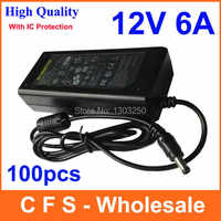100pcs With IC Protection AC 100-240V To DC 12V 6A Power Supply Adapter 72W Switch For LED Light LCD Monitor CCTV Free shipping
