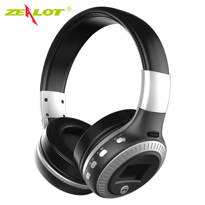 ZEALOT B19 Headphone LCD Display HiFi Bass Stereo Earphone Bluetooth Wireless Headset With Mic FM Radio TF Card Slot Headphones 2017 new wireless headphones stereo bluetooth headset card mp3 player earphone fm radio music for music wireless headphone