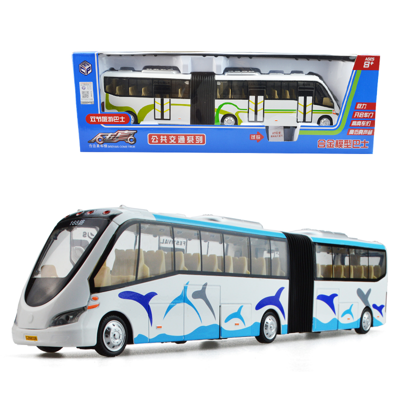 Alloy double festival bus light music pull back children kid car toy model 1:32 Childrens Day new year gift ornaments