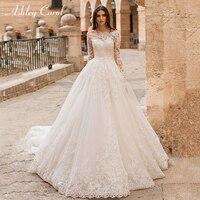 Ashley Carol Boat Neck Long Sleeve Wedding Dresses 2019 Lace Princess Bride Dress Chapel Train Palace Vintage Vestido De Noiva