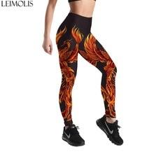 LEIMOLIS 3D printed Fire Phoenix black harajuku gothic sexy plus size high waist push up fitness workout leggings women pants