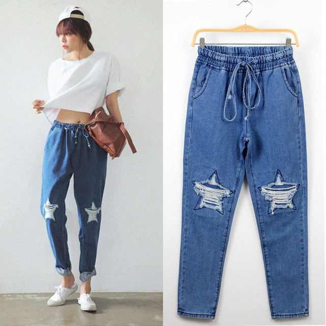82a446e0a7f Women Korean denim casual cross pants Ripped baggy pants plus size Loose  Elastic Waist Jeans girls Hole novelty Jeans