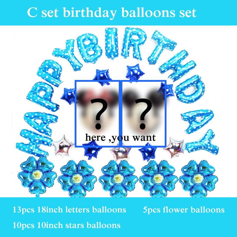 30pcs/set happy birthday balloon set cartoon minnie mickey balloon foil material