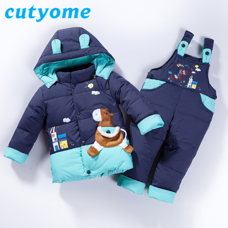 Baby Boys Girls Winter Down Jackets Set Toddler Warm Snowsuits for Kids Overalls Hooded+Trousers 2pcs Children Outerwear Clothes 2016 winter boys ski suit set children s snowsuit for baby girl snow overalls ntural fur down jackets trousers clothing sets
