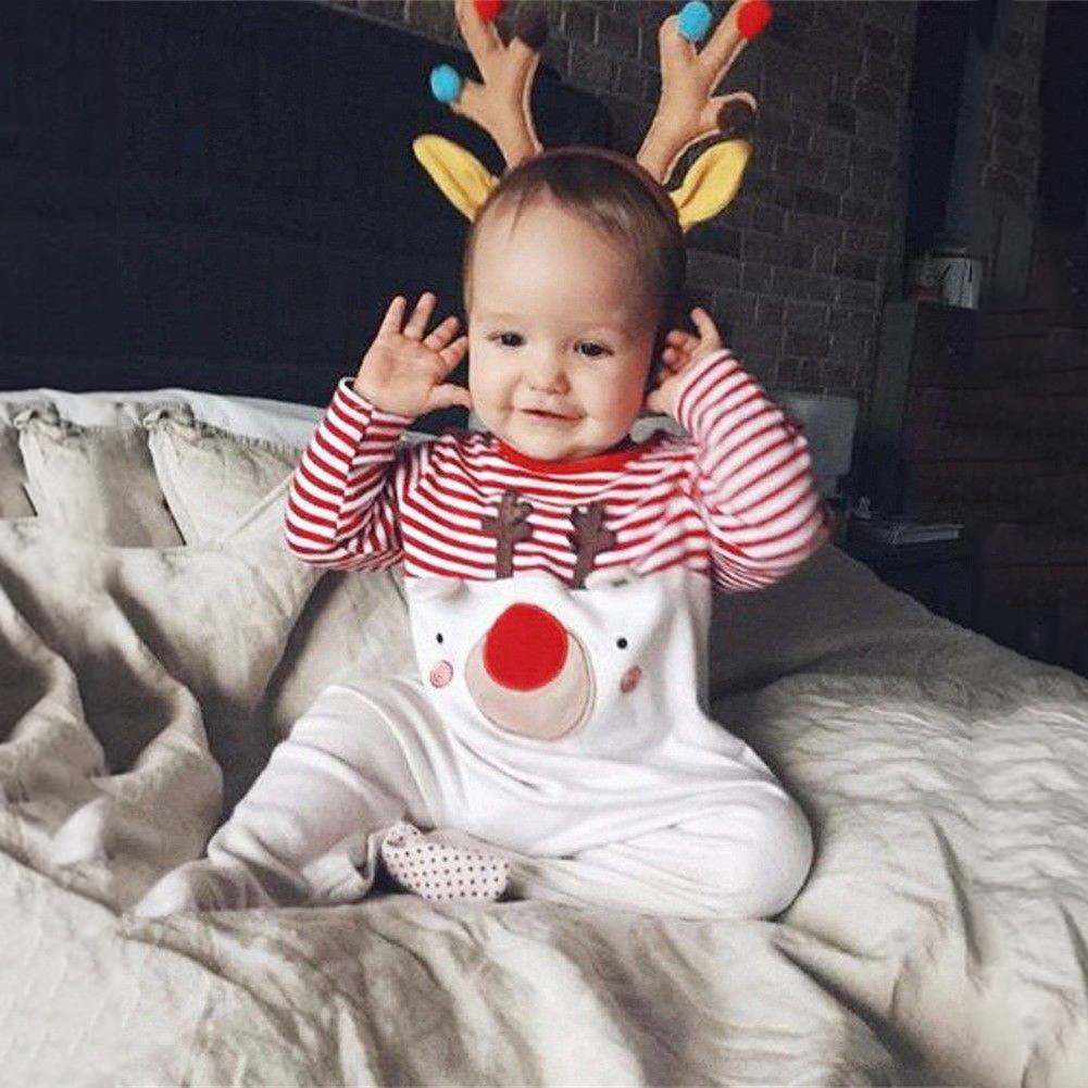 0-24M Christmas Xmas Newborn Infant Baby Boy Girl Clothing Cute Cartoon Romper Striped Pajama Outfit Children costume kids ruffle tie neck striped romper