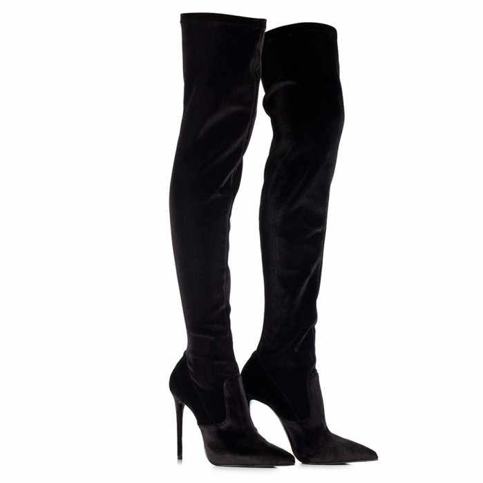 f31c395b0b9 ... Hot selling Stretch over the knee boot in Velvet sexy pointed toe thigh  high boots woman ...