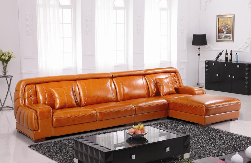 Free Shipping Top Grain Imported Double Color Cattle Leather, Grand Orange  Furniture Luxury And Duration,L Shaped 3.8M Sofa Set In Living Room Sofas  From ...