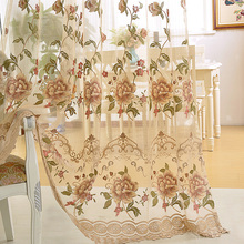 Europe Window Treatments Water-soluble Hollow Embroidered Luxury Voile Curtains For Living Room Lace Curtains Tulle AP321-30