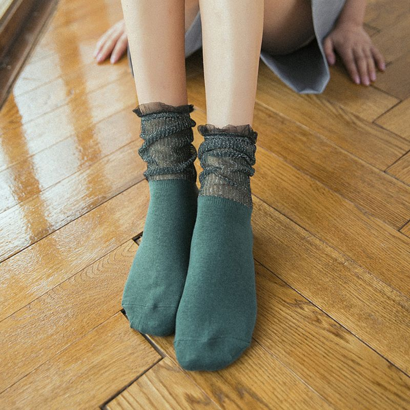 Women Girls Autumn Cotton Loose Long Ankle Socks Glitter Metallic Yarn Patchwork Solid Color Hosiery Ruffle Lace Trim Elegant 5