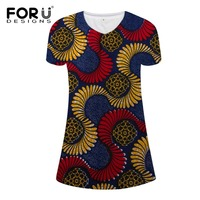 FORUDESIGNS Pretty Women's Short Sleeve Dress African Printing Casual Dress Slim Fitness Women Clothing Sexy Mini Girls Dress