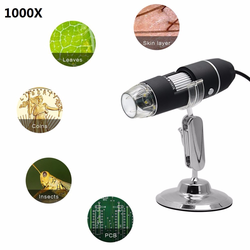 3 in 1 Wireless WiFi 8LED 1000X Digital 2MP HD 1080P Soldering Microscope Magnifier Video Camera with Stand for Soldering 2mp 1000x 8led usb portable digital microscope video camera magnifier stand