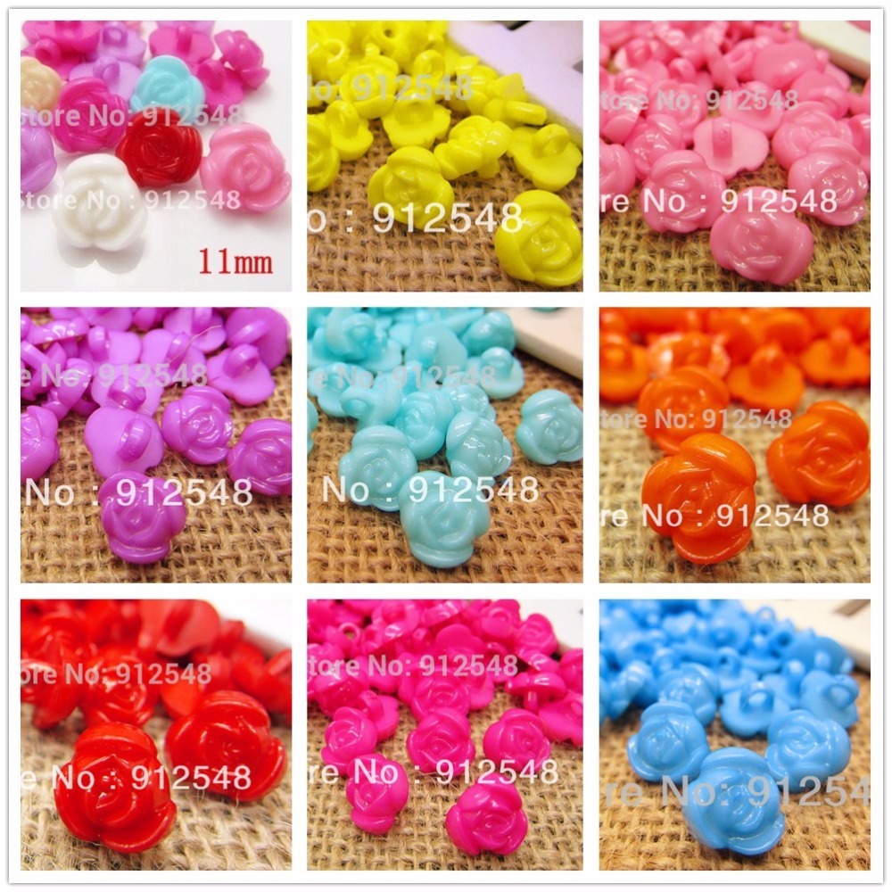 11mm Candy-colored flowers plastic buttons, clothing accessories DIY handmade materials, Sewing tools 50 pcs free shipping