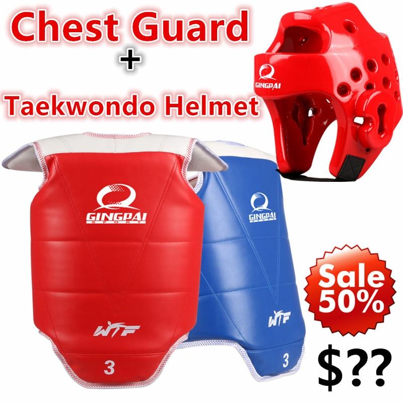 Good quality Taekwondo chest guard Taekwondo helmet red blue headg Karate Taekwondo protectors WTF approved chest supporters TKD  цены