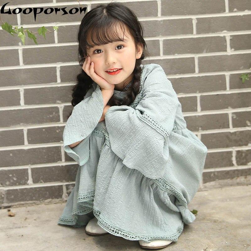 Girl Dresses Autumn Fashion Long Cotton Linen Vintage Dress Kids Girl Party Dress Summer Children Clothes Girl Dress