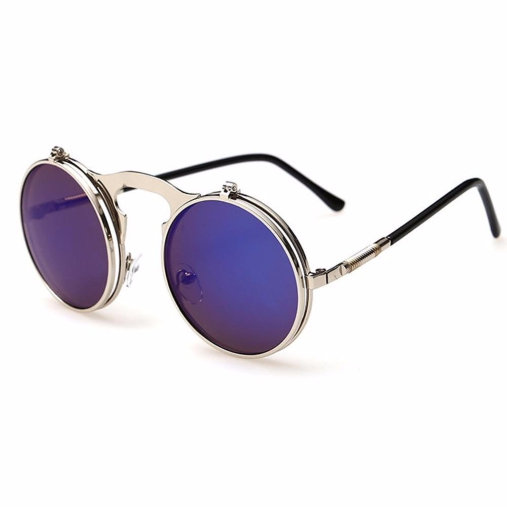 bcfd79a3598 2018 New Flip Up Steampunk Sunglasses Men Round Vintage Mens ...