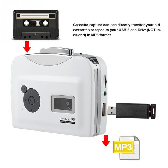Portable Cassette Tape to MP3 Converter for Windows XP / Vista / 7 Plug and play USB Flash Drive Capture Audio Music Player