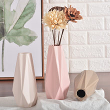 Christmas Gifts Decoration Figurines Ceramic Tabletop Flower Geometry Vases Flower Vases For Decoration Craft Water Plant Vases(China)