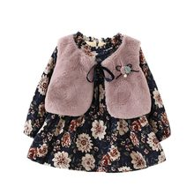 0-4Y Girls Long-sleeved Floral Velvet Dress Girls Fashion Faux Fur Vest+Princess Dress Children Clothing Fashion Outdoor Wear(China)