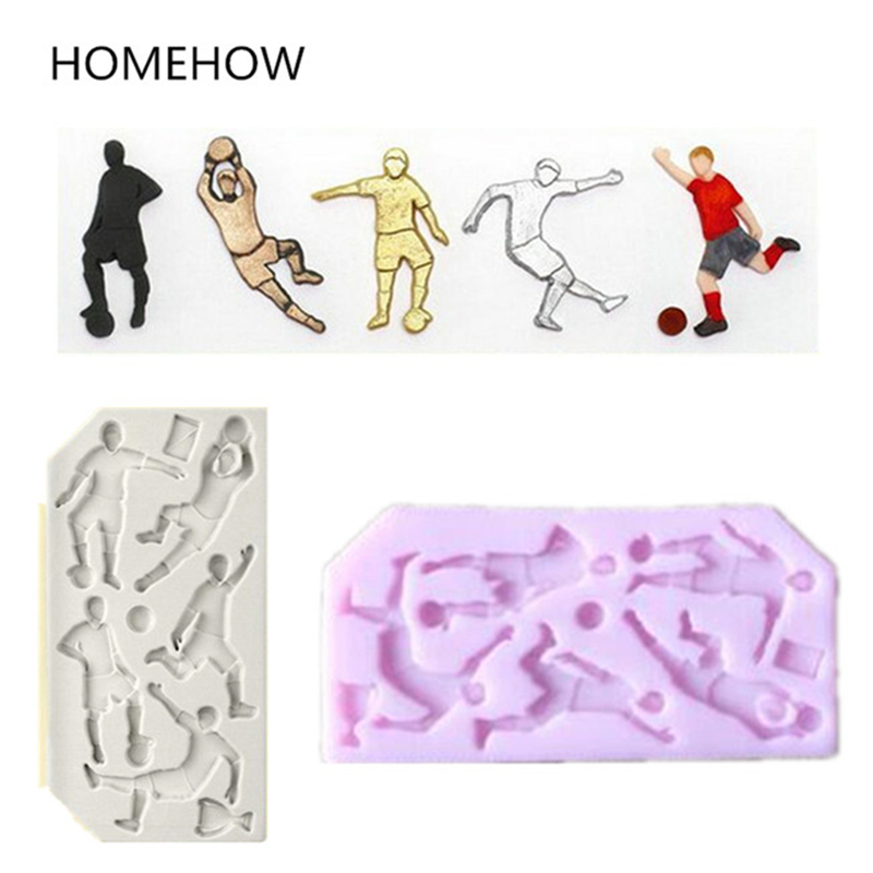 1PC/Lot Popular Sports Theme Silicone Mold Football Soccer Rugby Baseball Golf Sports Action 3D Cupcake Cake Decorating Mold
