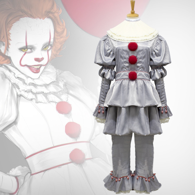 Stephen King's It Cosplay Pennywise Clown Costume Adult Joker Halloween Carnival Party Cosplay Costume Full Set