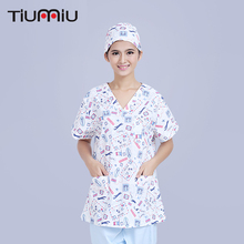 Cotton Print Doctor Nurse Uniform Women Short-sleeve Scrub Sets Medical Hospital Dental Clinic Beauty Salon Workwear Set