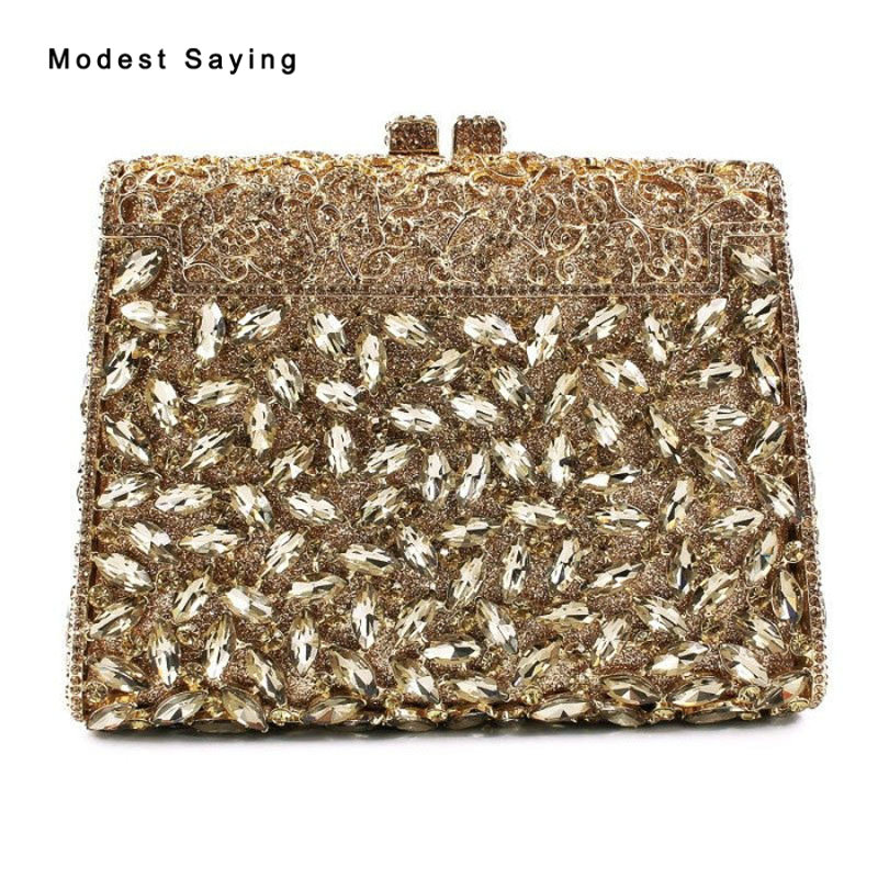 Luxury Royal Gold Bling Handbags For Wedding Party 2018 Women Shiny Crystal Prom Evening Purse Dolly Bags Wedding Accessories