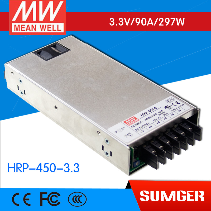 все цены на 1MEAN WELL original HRP-450-3.3 3.3V 90A meanwell HRP-450 3.3V 297W Single Output with PFC Function  Power Supply онлайн