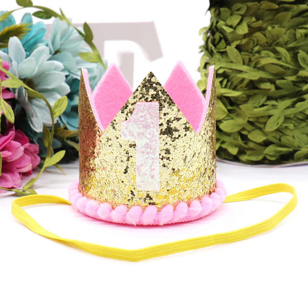 Birthday Party Crown Baby First Decoration Hat One Years Old Headwear Girl Boy