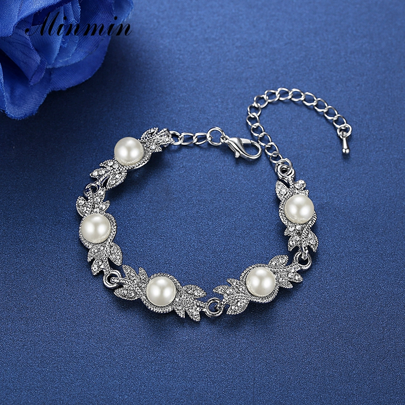 Minmin Simüle İnci Gelin Takı Setleri Gümüş Kristal Bilezik - Kostüm mücevherat - Fotoğraf 6