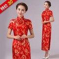 New Arrival Red Chinese Traditional Dress Women Silk Satin Cheongsam Long Dripping Qipao Top Size S M L XL XXL XXXL