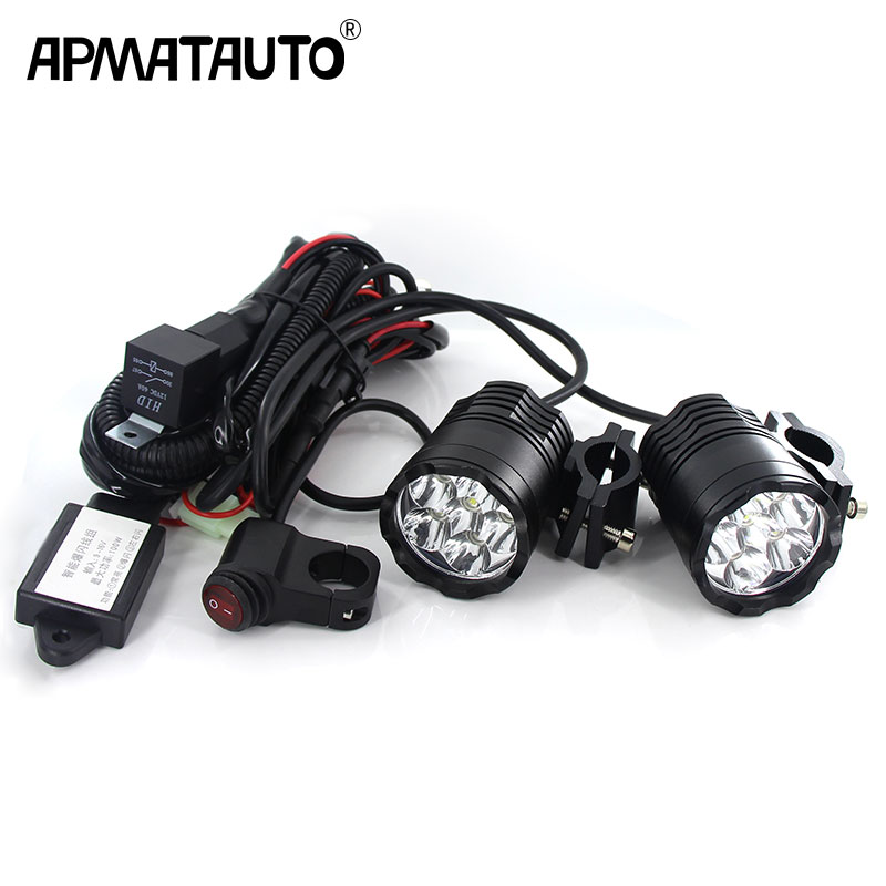 Plug amp play 60W Motorcycle Headlight spotlight 9600lm set 6000k auxiliary LED lights Fog light CNC machined Aluminium Housing