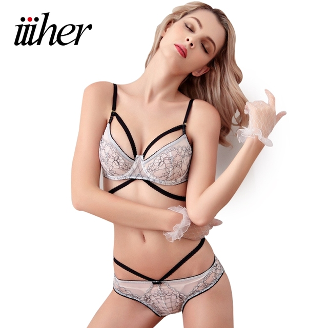 961c754ccca7c iiiher Sexy Transparent Ultrathin Lace Bra Set Push Up No Sponge Embroidery  3 4 Cup