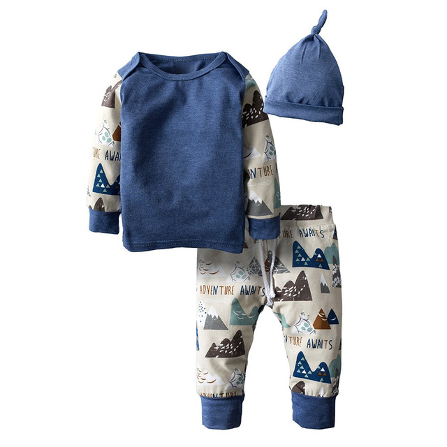 Autumn New Baby Boy Clothing Set Fashion Cotton Long-sleeved T-shirt+ Pants+Hat Kids 3pcs Outfit Newborn Baby Boys Clothes