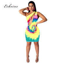Echoine Bodycon Dresses Women Oblique Collar Cut Out Tie-Dye Print Sexy Sleeveless Irregular Hem Party Charming Female Vestidos