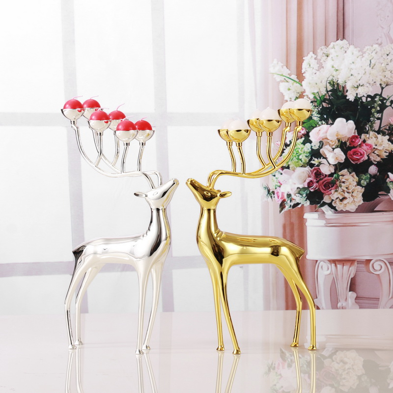 Luxurious Deer Candle Holders Stainless Steel Candle Holder Candlestick Wedding Candelabra Decoration Christmas Gift Free Candle