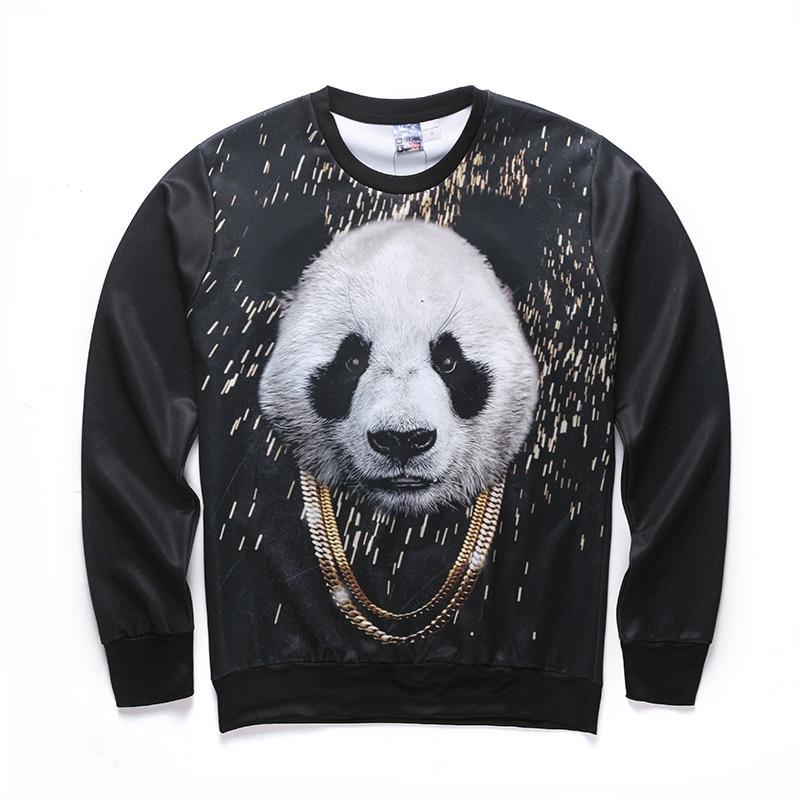 Harajuku style of male/female 3 d graphics jersey printing panda/interesting Ma Xinji crewneck sweat